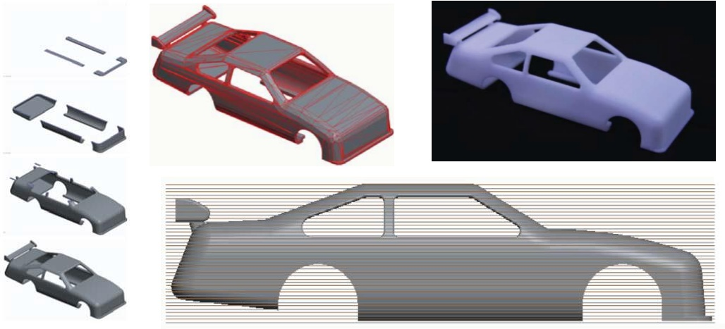 Stages showing the process of a 3D printed model car (support material is not shown for clarity). The printed model Time = circa 8 hours